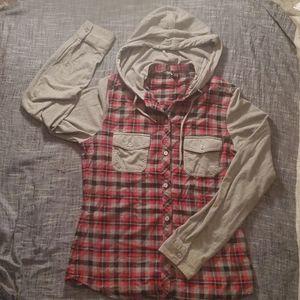 Empyre Plaid Hoodie w/hood & sleeves Size Medium
